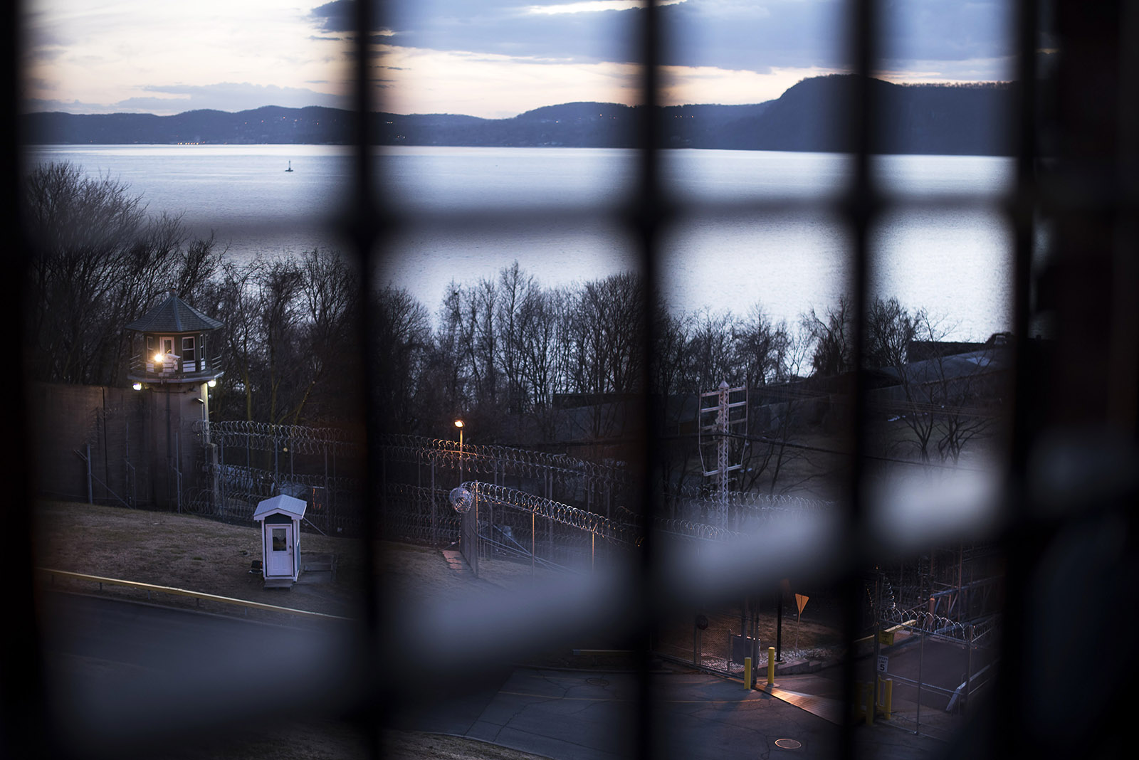 A view of the Hudson River through a window from the Sing Sing Correctional Facility, Ossining, New York, February 24, 2017