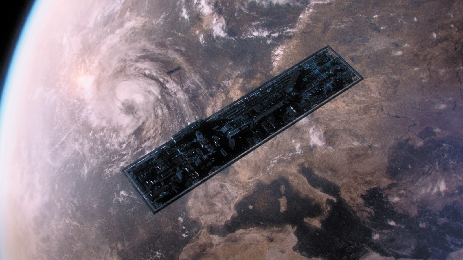 A spacecraft floating above earth in a scene from the film Aniara