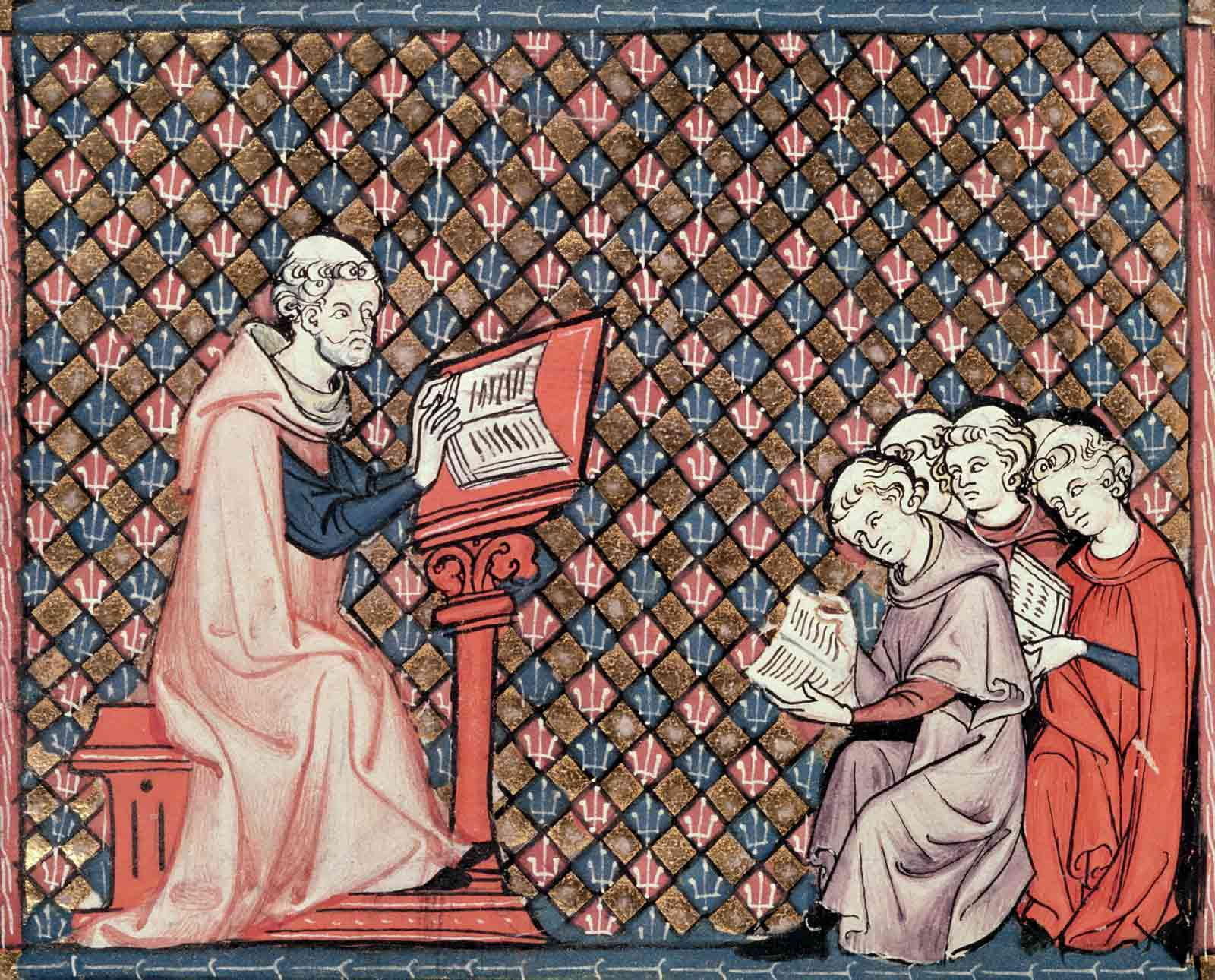 Illustration of a philosophy lesson, from Ovid's Metamorphoses, by Chretien Legouis, France, fourteenth century