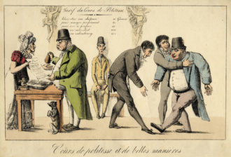 A satirical lithograph of Englishmen learning to bow in an etiquette course taught by the French, 1817