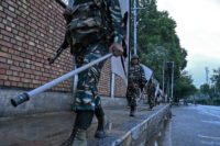 Indian security personnel on patrol during a total military lockdown in Srinagar, Kashmir, August 10, 2019
