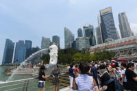 Visitors at the Merlion park, Singapore, August 13, 2019