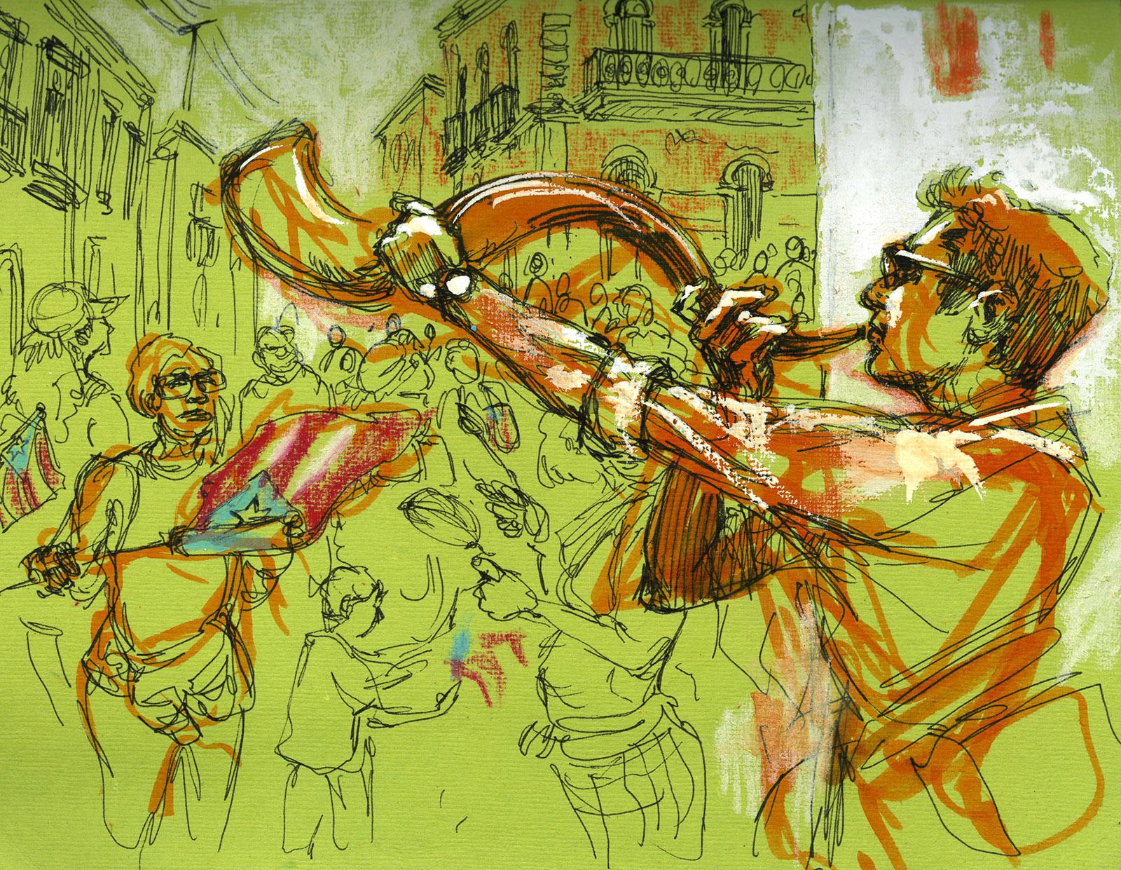 Noel blowing his shofar at the demonstrations celebrating Governor Ricardo Rosselló's resignation, San Juan, August 2, 2019