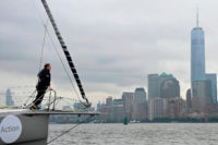 Swedish climate activist Greta Thunberg arriving to New York City after a fifteen-day journey crossing the Atlantic aboard the Malizia II, a zero-carbon yacht, August 28, 2019