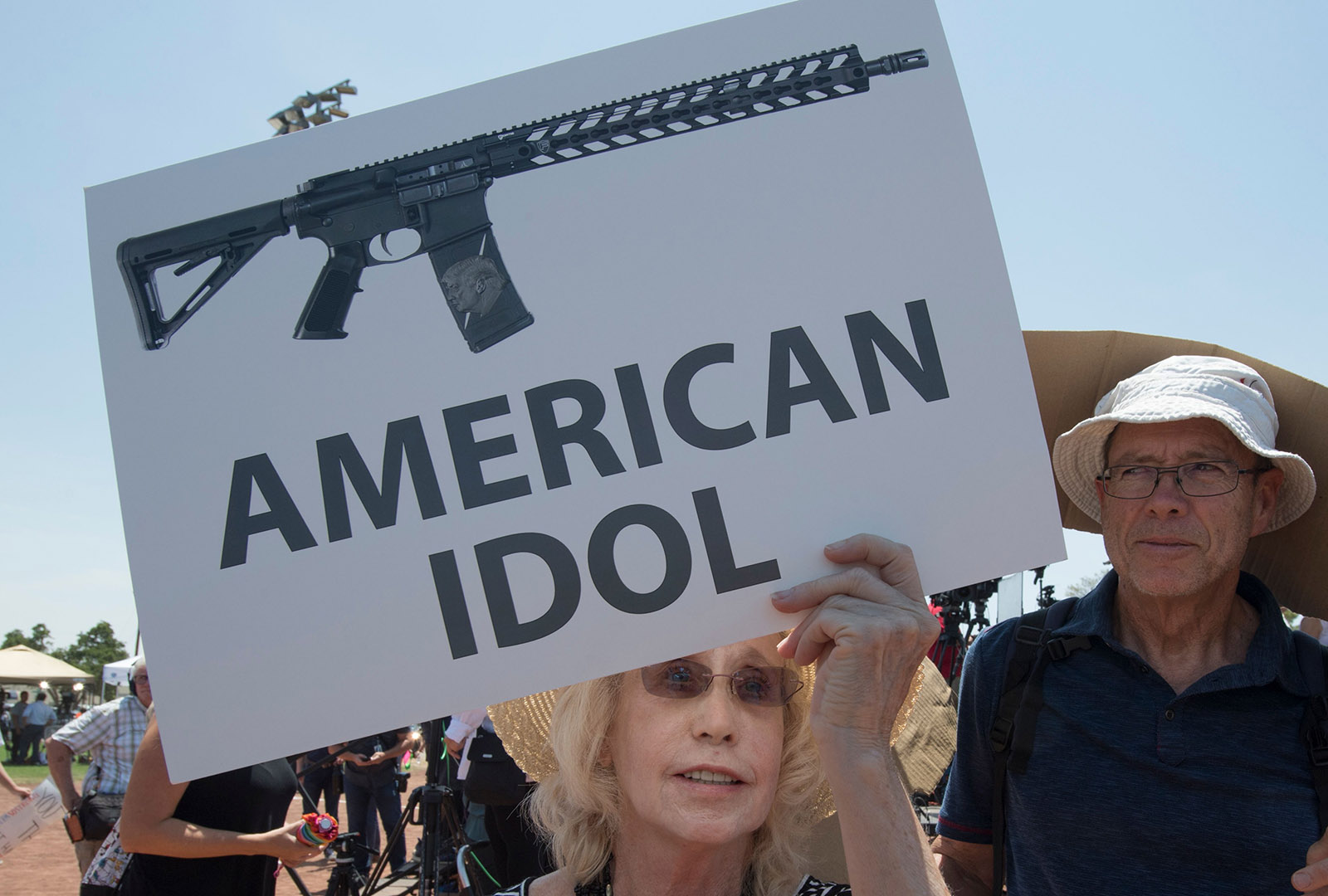 El Paso residents protesting the visit of President Donald Trump after the Walmart mass shooting that left twenty-two people dead, Texas, August 7, 2019