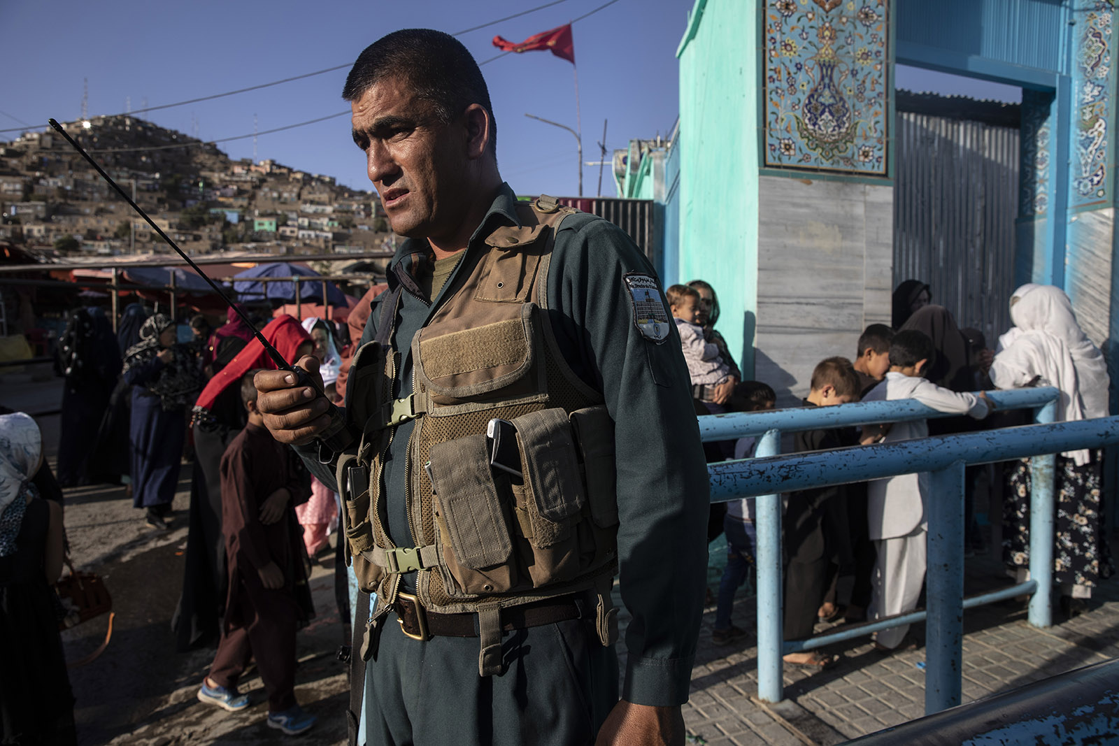 An Afghan security officer on duty outside the Karte Sakhi mosque in Kabul, Afghanistan, September 20, 2019