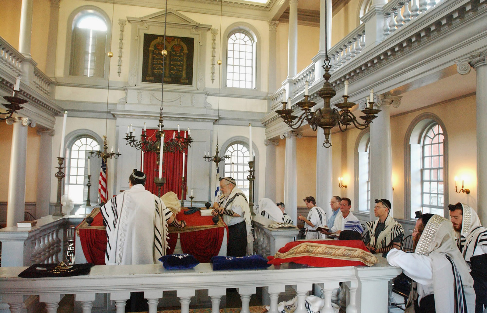 A daily service at Touro Synagogue, the centuries-old place of worship of the Jewish community of Rhode Island, which welcomed President George Washington as a visitor in 1790 and gave rise to his famous letter about religious freedom, Newport, 2004