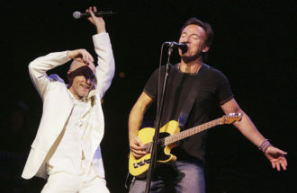 "Michael Stipe of REM and Bruce Springsteen performing at the ""Vote For Change"" concert at the Wachovia Center, Philadelphia, October 1, 2004"