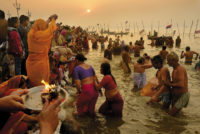 Hindu pilgrims bathing in the Ganges, Prayagraj, India, 2013