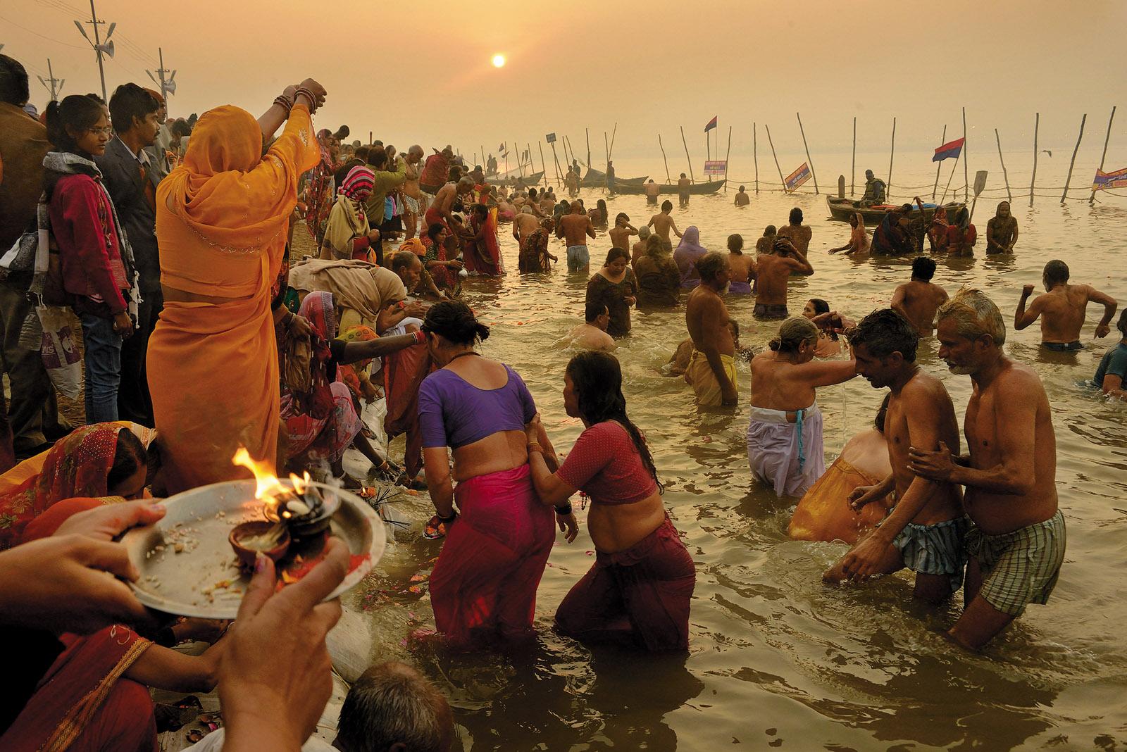 Hindu pilgrims bathing in the Ganges, Prayagraj, India, 2013