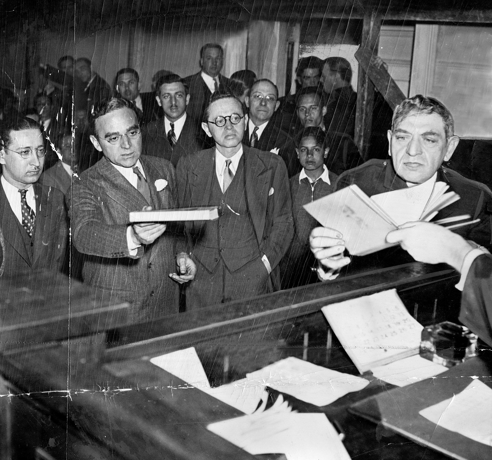 Morris Ernst (second from left) defending Gustave Flaubert's November in court against charges of obscenity, New York City, 1935