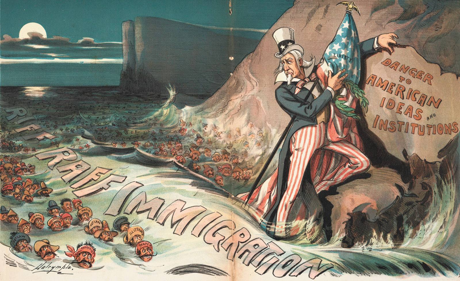 Cartoon 'The High Tide of Immigration—A National Menace' by Louis Dalrymple, 1903