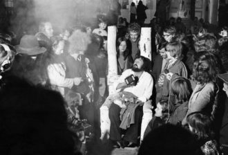 Harald Szeemann (seated) on the last night of 'Documenta 5: Questioning Reality—Image Worlds Today,' Kassel, Germany, 1972