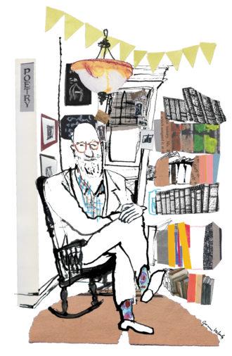 Lawrence Ferlinghetti; illustration by Joanna Neborsky