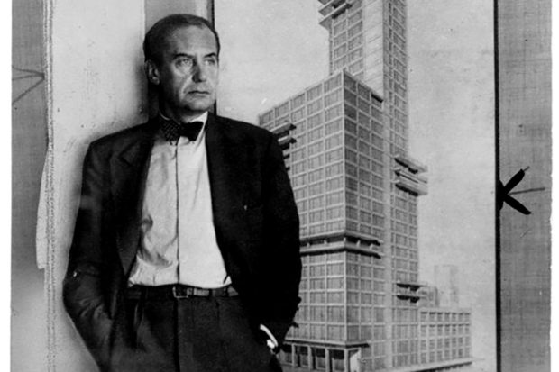 Walter Gropius with the design for his and Adolf Meyer's entry for the 1922 Chicago Tribune Tower competition, 1928