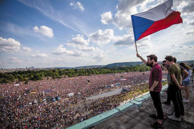 Demonstrators at a rally demanding the resignation of Czech prime minister Andrej Babiš, Prague, June 23, 2019