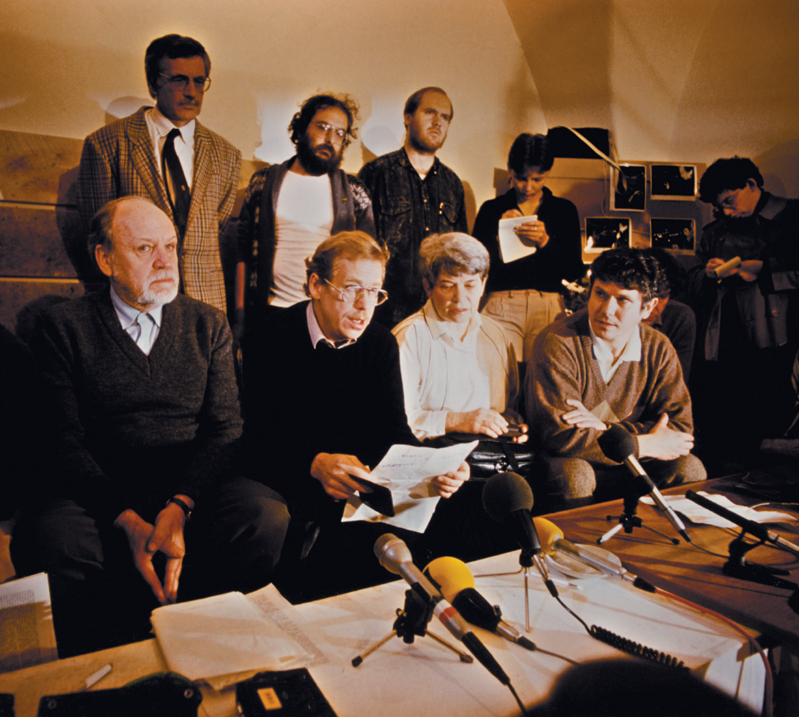 Václav Havel speaking to journalists during the Velvet Revolution, Prague, November 22, 1989