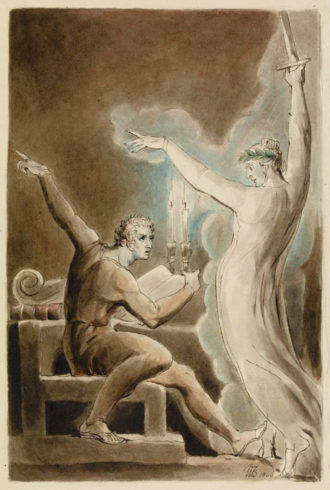 Brutus and Caesar's ghost; illustration by William Blake for an edition of Shakespeare's Julius Caesar, 1808