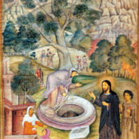Jesus and the Samaritan woman at the well; illustration from the Mirror of Holiness, an account of the life of Christ by the Jesuit priest Jerome Xavier for the Mughal emperor Akbar, India, 1602–1604