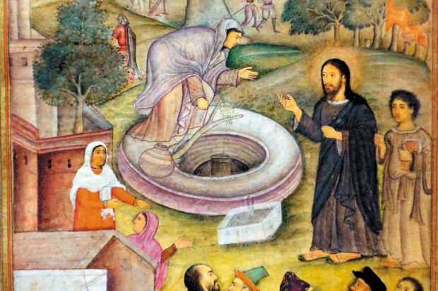 Jesus and the Samaritan woman at the well; illustration from the <i>Mirror of Holiness,</i> an account of the life of Christ by the Jesuit priest Jerome Xavier for the Mughal emperor Akbar, India, 1602–1604