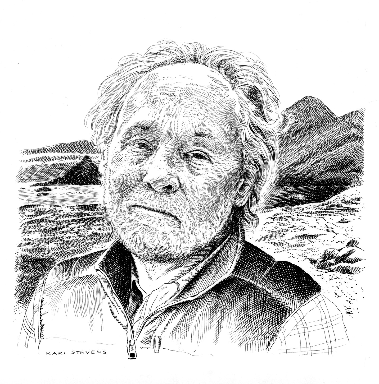 Barry Lopez; drawing by Karl Stevens