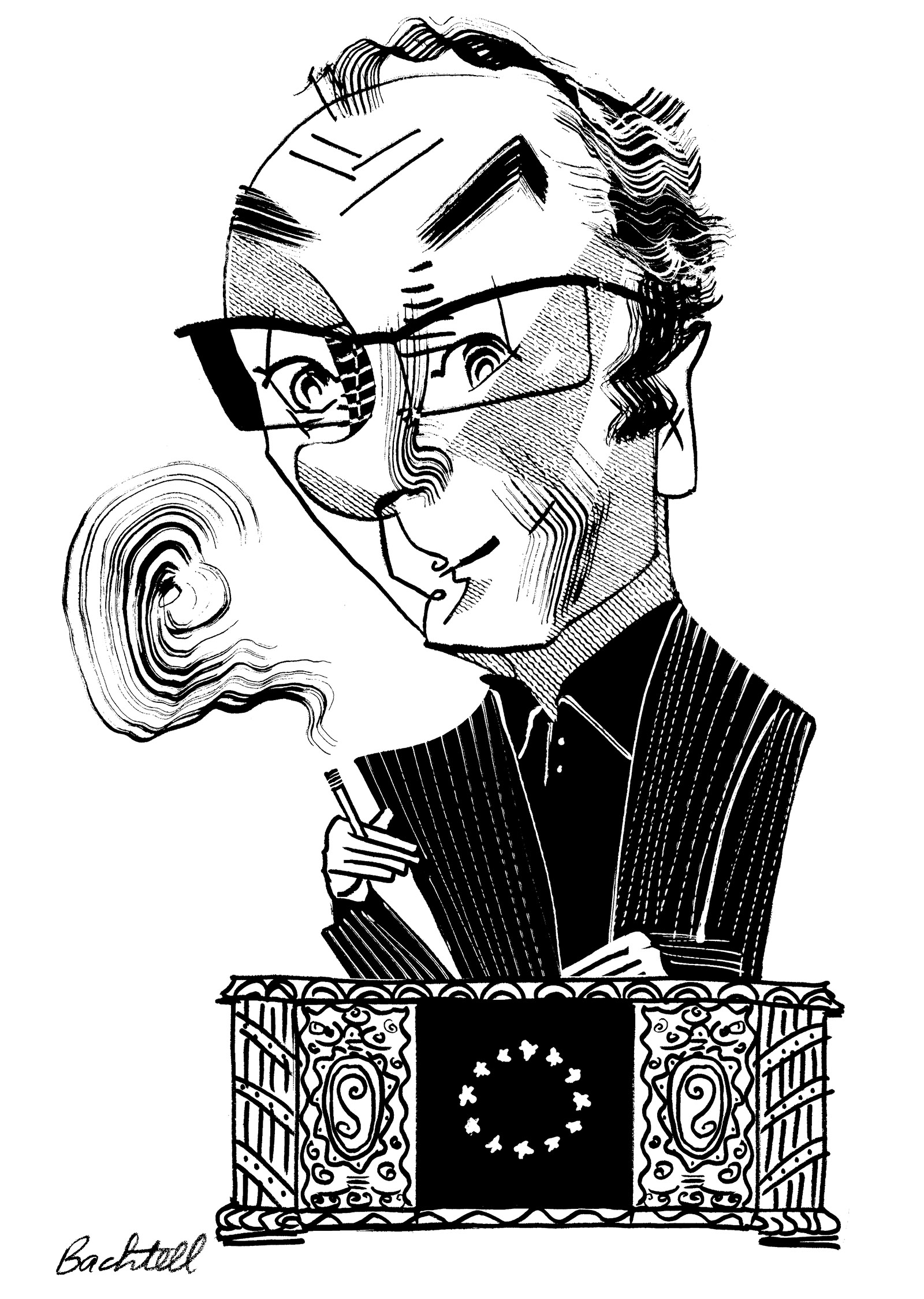 Robert Menasse; drawing by Tom Bachtell