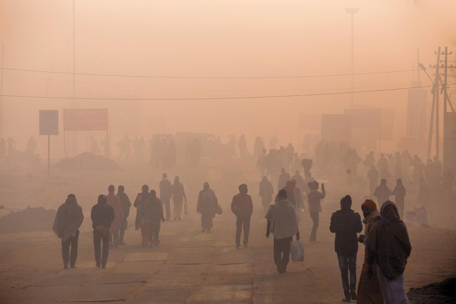 Smog in Prayagraj, Uttar Pradesh, India, January 2019