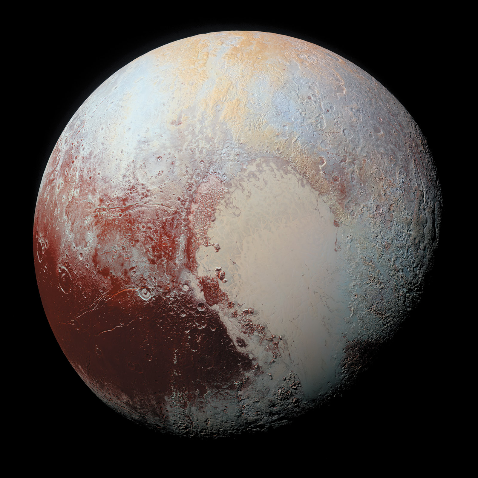 Pluto, July 2015; photographed by NASA's New Horizons spacecraft, with enhanced color