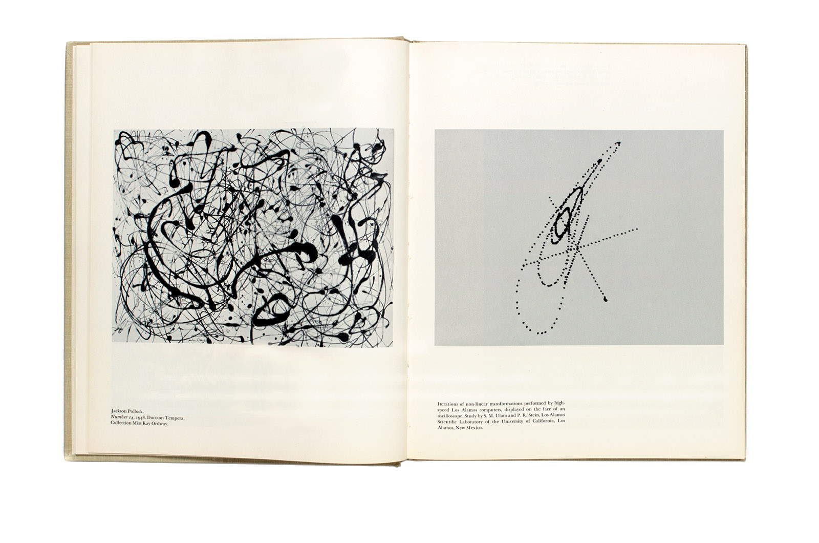 A two-page spread showing Jackson Pollock's Number 14 and optical signals recorded by an oscilloscope