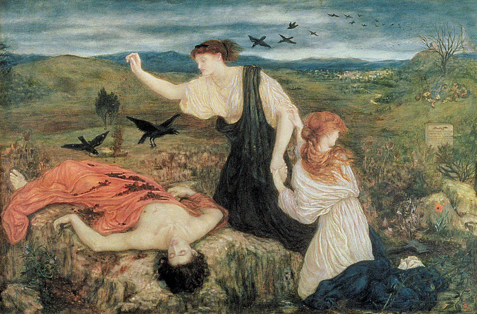 Antigone Giving the Burial Rites to Her Brother's Body, painting by Marie Spartali Stillman
