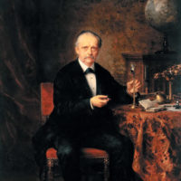 Hermann von Helmholtz with several of his inventions, including a Helmholtz resonator, an ophthalmometer, and an ophthalmoscope; painting by Ludwig Knaus, 1881