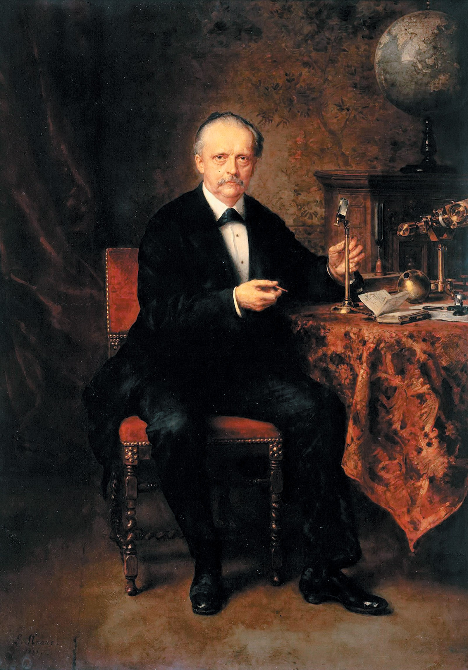Hermann von Helmholtz with several of his inventions, painting by Ludwig Knaus, 1881