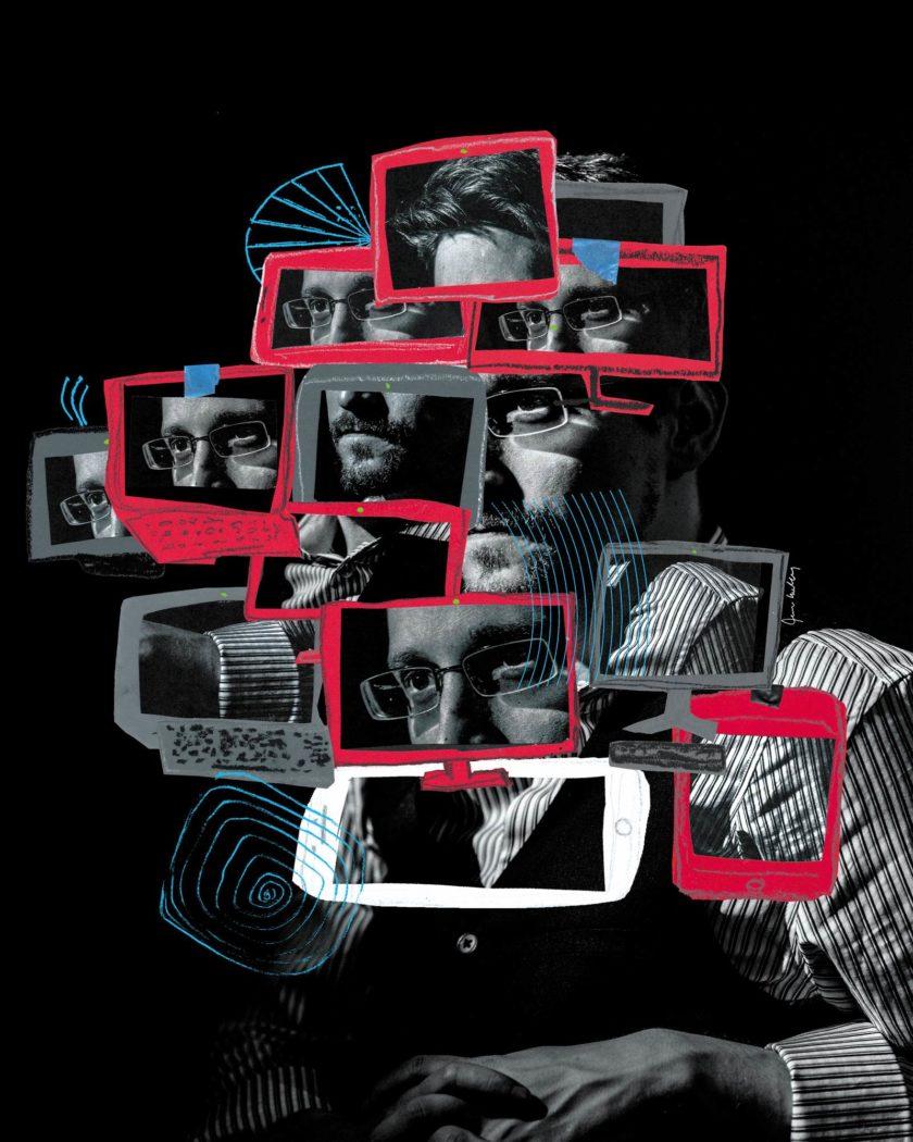 Edward Snowden; illustration by Joanna Neborsky