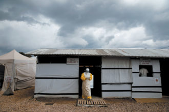 A health worker in an Ebola treatment center, Beni, North Kivu, Congo, May 2019