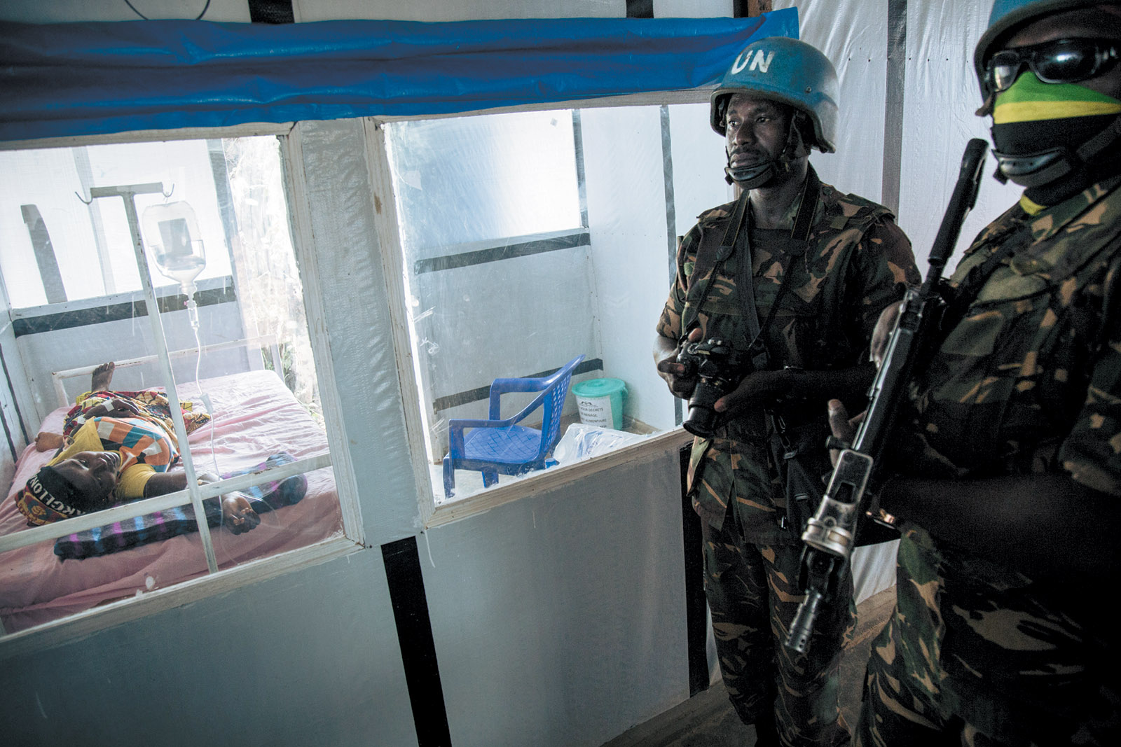UN peacekeepers in an Ebola treatment center, Mangina, North Kivu, Congo