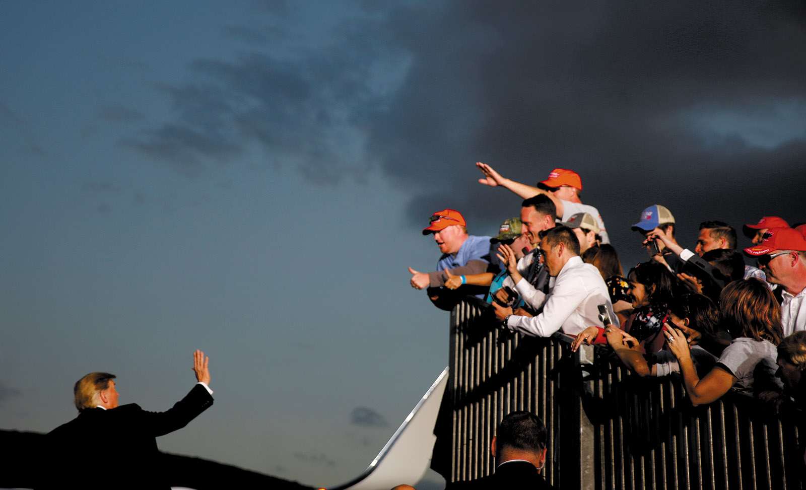 President Trump waving to supporters after a reelection campaign rally, Montoursville, Pennsylvania, May 2019