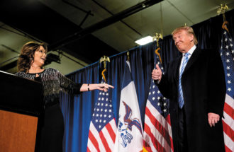 Sarah Palin with Donald Trump during his presidential campaign, Ames, Iowa, January 2016