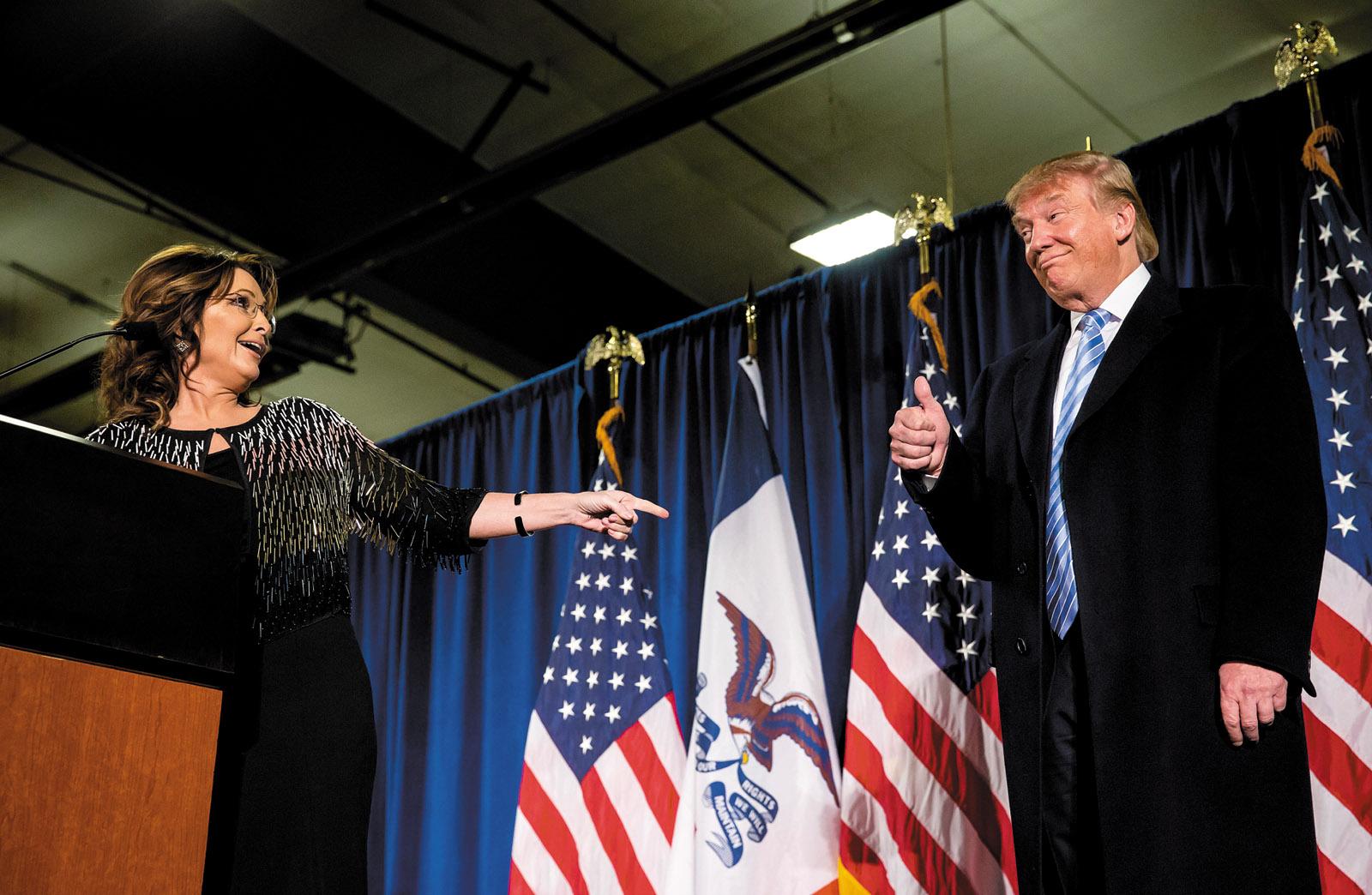 Sarah Palin and Donald Trump, Ames, Iowa, January 2016