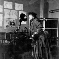 Sarah Bernhardt listening to a recording of her voice, New York City, early 1890s