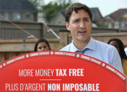 Justin Trudeau, leader of the Liberal Party, holding a press conference in Brampton, Ontario, Canada, September 22, 2019