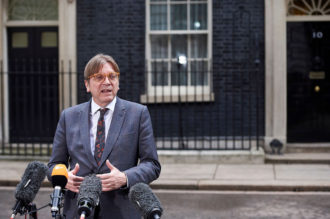 Guy Verhofstadt, the European Parliament's Brexit coordinator, speaking to the press in Downing Street, London, March 6, 2018