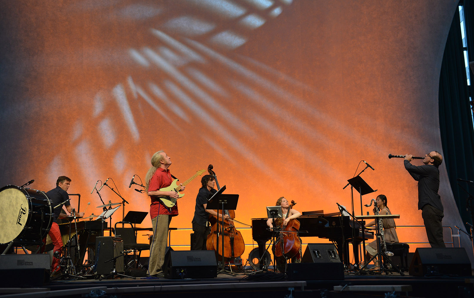 The Bang on a Can All-Stars (David Cossin, percussion; Mark Stewart, guitar; Robert Black, bass; Ashley Bathgate, cello; Vicky Chow, piano; Ken Thomson, clarinet) performing at the Bang on a Can Marathon at the Winter Garden at Brookfield Place, New York, on June 22, 2014