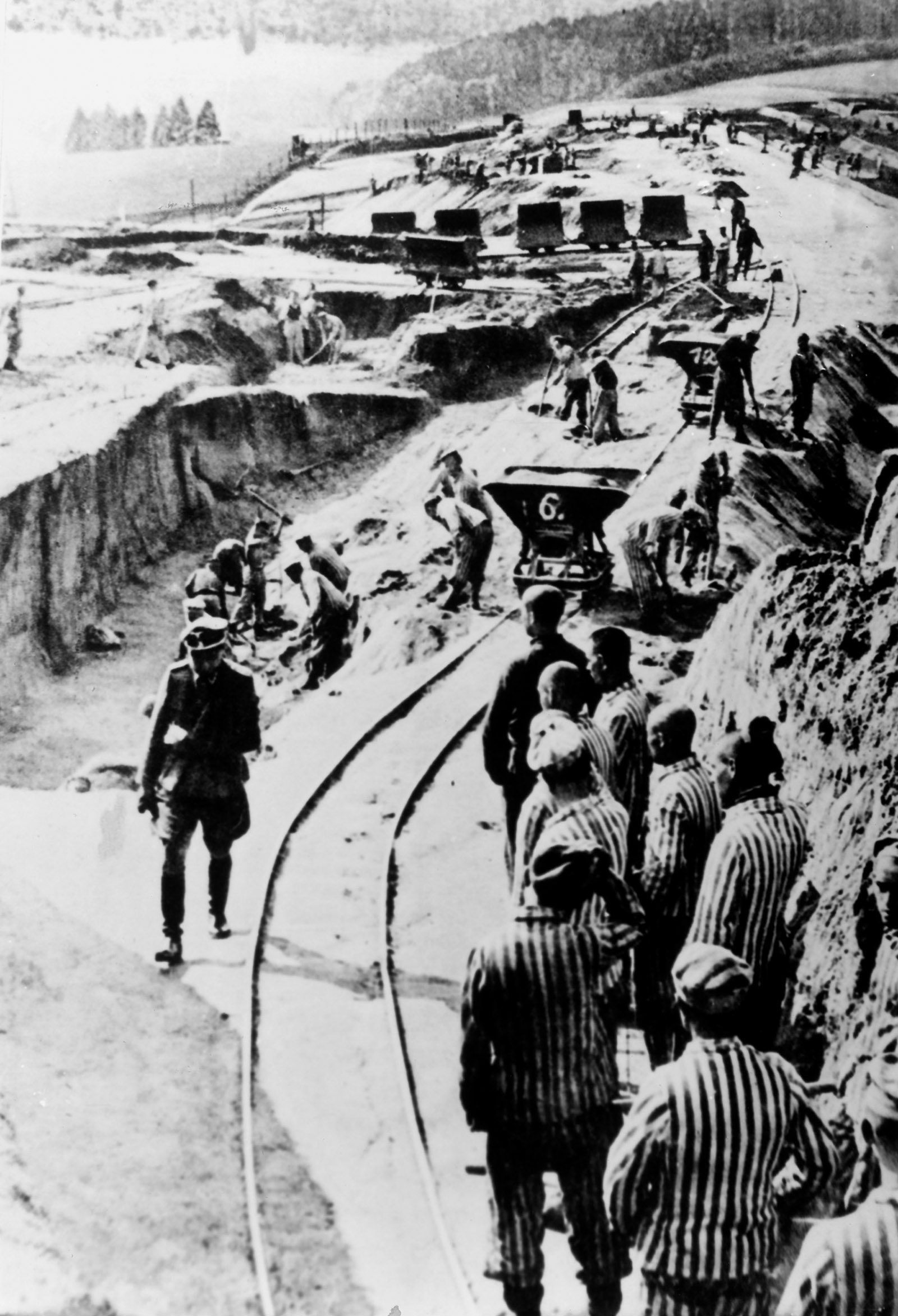 Prisoners doing forced labor at the Mauthausen concentration camp, Austria, early 1940s