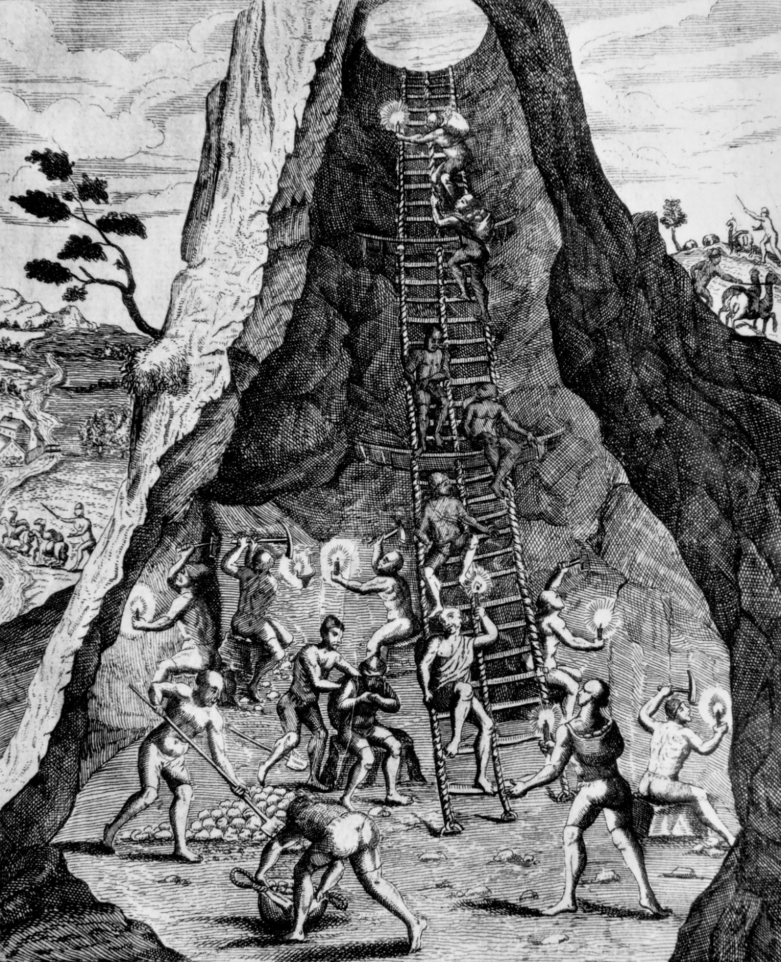 Indigenous workers in a Potosí silver mine; engraving by Theodor de Bry, circa 1590