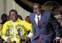 Zimbabwean Vice President Emmerson Mnangagwa, left, and President Robert Mugabe at Mugabe's ninety-second birthday celebrations, Masvingo, Zimbabwe, February 2016