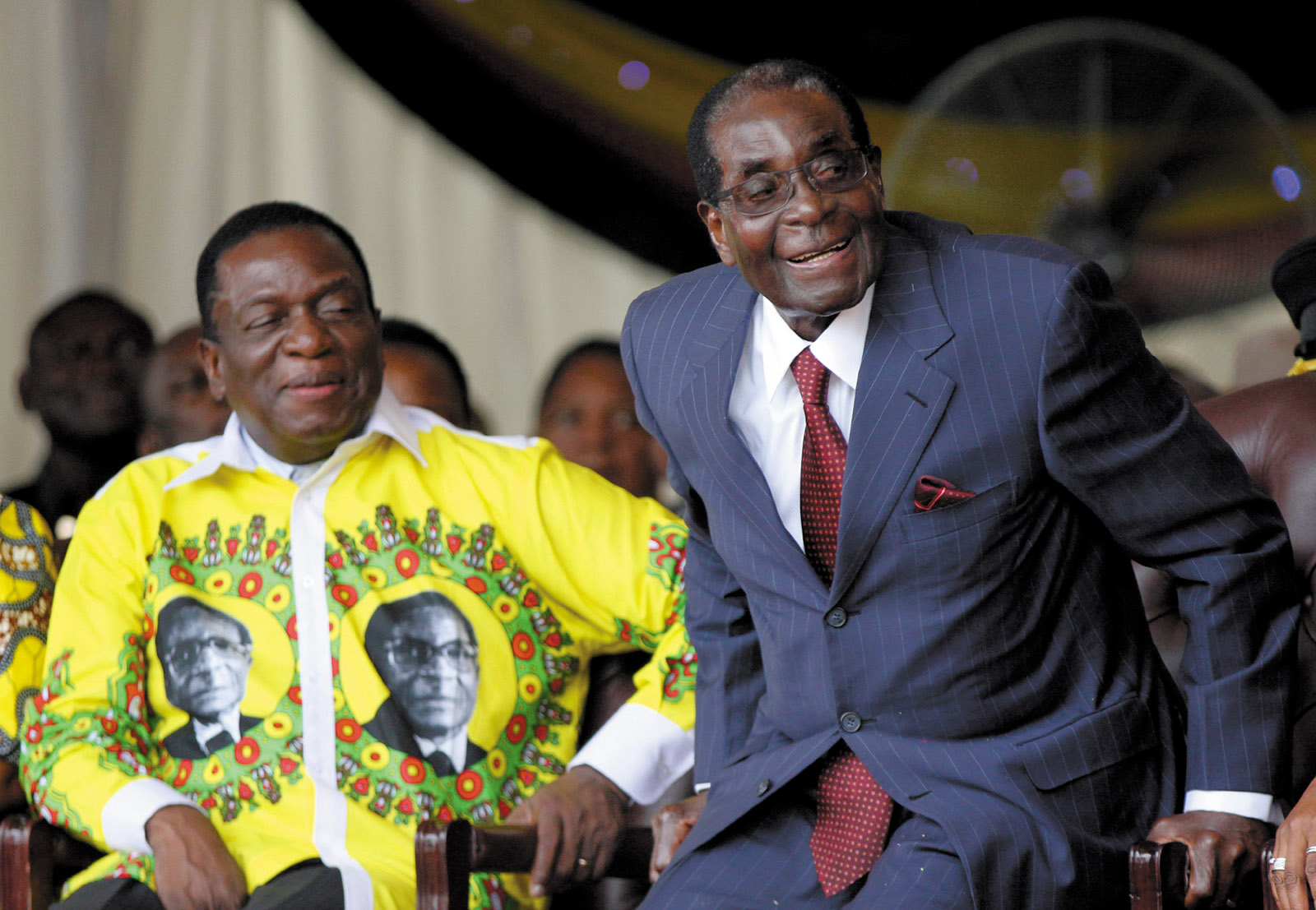 Zimbabwean Vice President Emmerson Mnangagwa and President Robert Mugabe at Mugabe's ninety-second birthday celebrations, Masvingo, Zimbabwe, February 2016