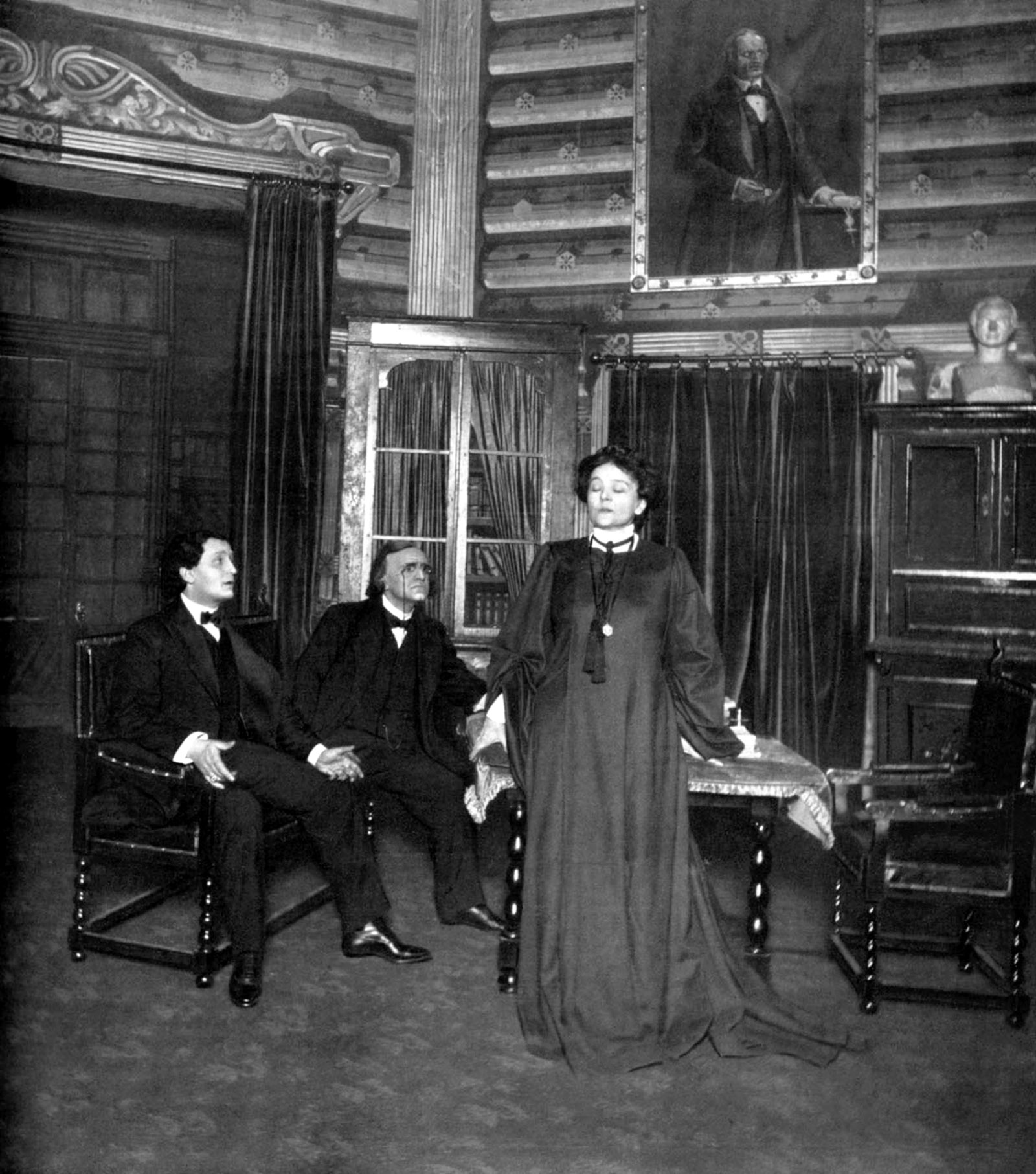 Eleonora Duse as Rebecca in Rosmersholm at the Norwegian Theater in Kristiania shortly before Ibsen's death, 1906