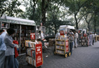 Mobile book carts in Central Park from the Strand Bookstore, New York City, 1976