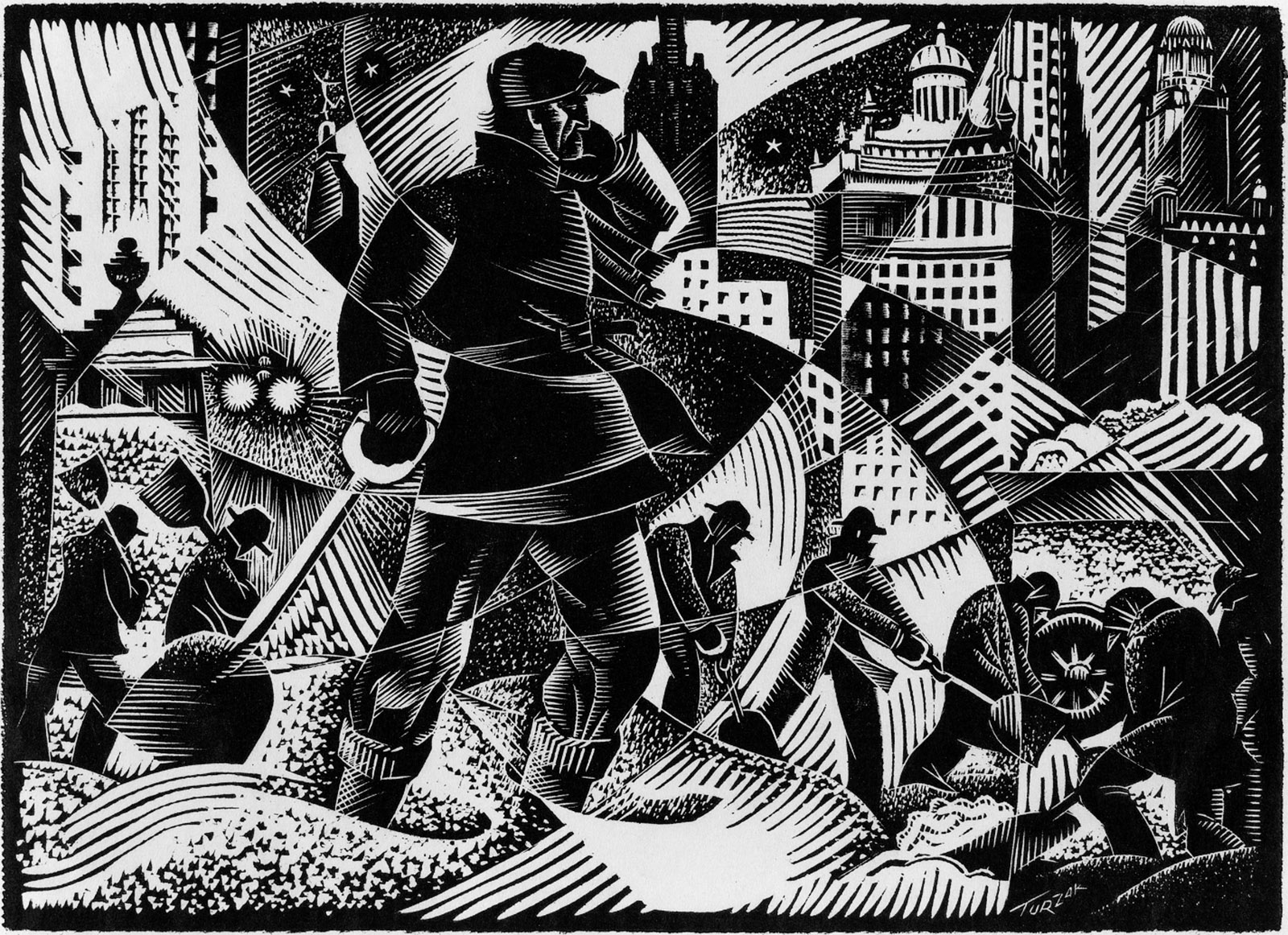 Work Relief (Chicago Snowstorm), 1935–1942, painting by Charles Turzak