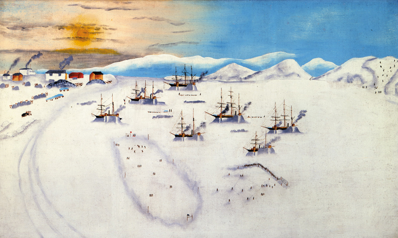Whaling ships wintering at Herschel Island; painting by John Bertonccini, circa 1894